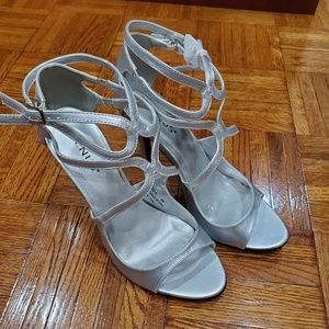 silver women's strappy dress shoe